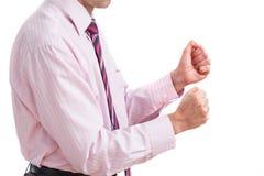 Обхватывать бизнесмена и кулака Стоковое Фото