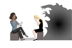 Общаться с депрессией и тревожностью иллюстрация вектора