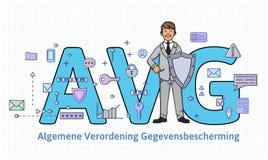 Общая регулировка защиты данных в Нидерландах Человек с экраном перед большими письмами AVG среди интернета и Стоковые Фотографии RF