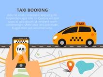 Общественное такси на линии обслуживании, передвижном применении Карта навигации Стоковое фото RF