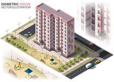 Общественный жилой строить 9-этажа isometry Стоковое Изображение RF