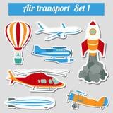 Общественный местный транспорт, воздушные перевозки Комплект значка Стоковое Изображение RF