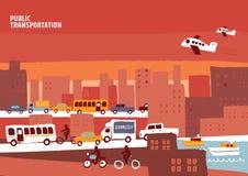Общественный местный транспорт, город графика информации Стоковая Фотография