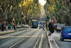 Общественный местный транспорт на улицах Рима, Италии Стоковое Фото