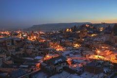 Общий вид Cappadocia на ноче Стоковая Фотография