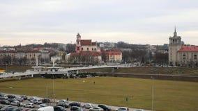 Общий вид Вильнюса города Видео промежутка времени видеоматериал