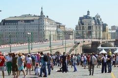 Общий вид гонок города Москвы комплекта следа телезрителей стоковое фото