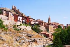Общий вид городка с крепостью Стоковая Фотография RF