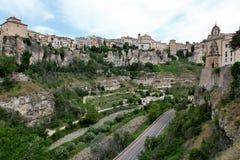 Общий вид городка Cuenca в утре. Кастили-Ла Mancha, Стоковое Фото