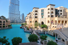 Общий вид центральной площади города Дубай Стоковое Изображение RF