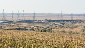 Общий вход взаимообмена перехода плана строительства шоссе M-25 Novorossiysk - st Kerch Стоковое Изображение