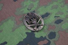 Общий значок штурма - немецкая нацистская награда на камуфляжной форме SS стоковое изображение rf