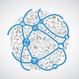 Община мира соединяет - голубую линию сеть значка связи и серый дизайн вектора технологии значка бесплатная иллюстрация