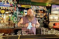 Общительный тучный бармен размещая в кран-комнате стоковое фото