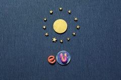 Объединенное солнце символа Европы в круге звезд Стоковое Фото