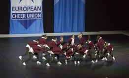 Объединяйтесь в команду шутники BCA от Германии выполняя на чемпионатах 2018 черлидинг ECU европейских стоковое изображение rf