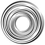 объезжает концентрическое Излучать, radial объезжает monochrome abstrac Стоковое Изображение RF