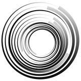 объезжает концентрическое Излучать, radial объезжает monochrome abstrac Стоковые Фото