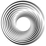 объезжает концентрическое Излучать, radial объезжает monochrome abstrac Стоковые Изображения RF