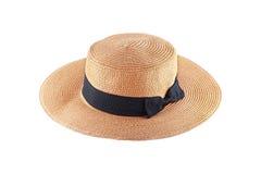 объезжайте одну соломенную шляпу для украшения изолированного на белизне Стоковое Изображение