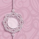Объезжайте рамку, шкентель шнурка на розовой предпосылке иллюстрация вектора