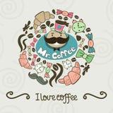 Объезжайте форму сделанную конфеты, помадок, чашки, литерности, человека и coff иллюстрация вектора