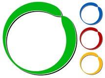 Объезжайте элемент дизайна с knockout тенью в 4 цветах Стоковые Изображения