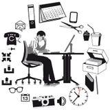 Объекты бизнесмена и дела иллюстрация штока