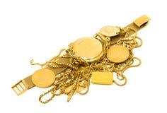 Объекты золота на белой предпосылке Стоковая Фотография