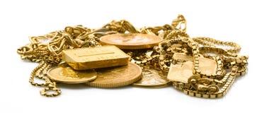 Объекты золота на белой предпосылке Стоковые Фотографии RF