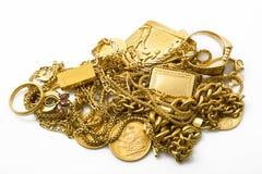 Объекты золота на белой предпосылке Стоковая Фотография RF