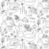 Объекты и травы к холодам обслуживания в картине иллюстрация вектора