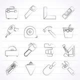 Объекты конструкции и значки инструментов иллюстрация вектора