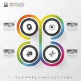 Объекты круга Конструкция Infographic Шаблон для диаграммы, диаграммы, представления и диаграммы также вектор иллюстрации притяжк Стоковая Фотография