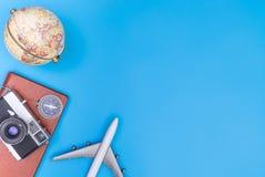 Объекты путешественника в сини Стоковое Изображение RF