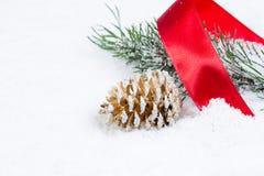 Объекты рождества на снеге Стоковая Фотография RF