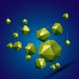 объект дизайна конспекта вектора 3D, полигональные осложненные диаграммы Стоковые Изображения