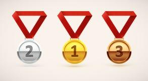 Объект медали реалистический изолированный на белизне Стоковые Фото