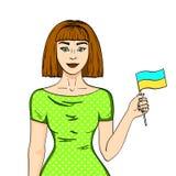 Объект на маленькой девочке белой предпосылки счастливой при украинский флаг, смотря камеру Шуточная имитация стиля иллюстрация вектора