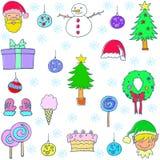Объект рождества установленный doodle бесплатная иллюстрация