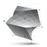 Объект сети вектора абстрактной структуры 3D полигональный, серая шкала иллюстрация штока