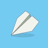 Объект Origami Сложенный белизной самолет бумаги на голубой предпосылке Стоковое Фото