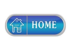 """Объемистая голубая кнопка с пиктограммой и """"HOME слов Стоковые Изображения RF"""