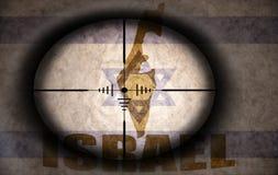 Объем снайпера направил на израильские флаг и карту иллюстрация вектора