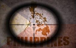 Объем снайпера направил на Филиппины сигнализирует и составляет карту иллюстрация вектора