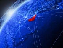 Объениненные Арабские Эмираты на голубой земле с сетью иллюстрация штока