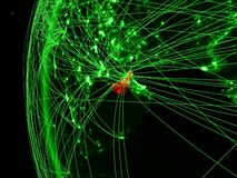 Объениненные Арабские Эмираты от космоса на зеленой модели земли с международными сетями Концепция зеленых сообщения или перемеще бесплатная иллюстрация