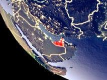 Объениненные Арабские Эмираты от космоса на земле иллюстрация штока