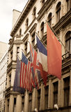 Объединенные флаги в контрольно-пропускном пункте Чарли, Стоковые Фотографии RF