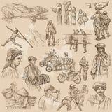 Объединенные цвета человеческого общества, людей - нарисованного рукой комплекта вектора бесплатная иллюстрация